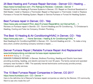 screenshot showing search engine results for the query furnace repair denver
