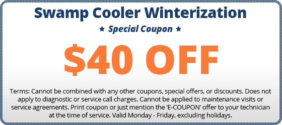 $40 off swamp cooler winterization