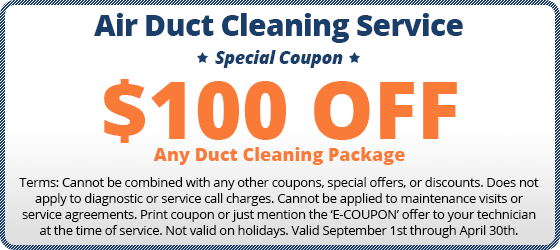 $100 off air duct cleaning coupon